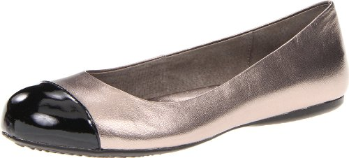 - Softwalk Women's Napa Ballet Flat,Soft Pewter/Black,5.5 M US