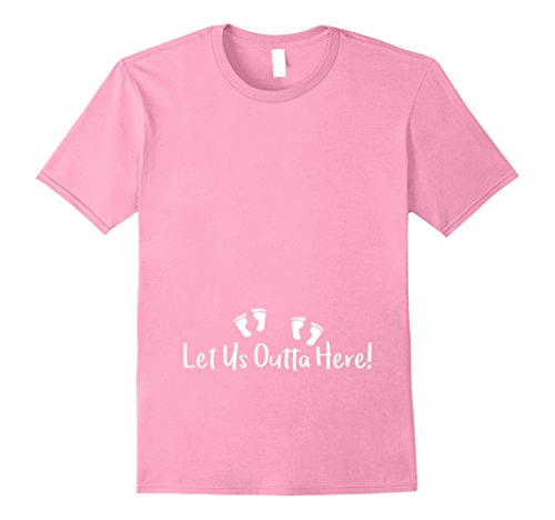 Mens Let Us Outta Here! Mom Twins Baby Feet T Shirt Medium Pink