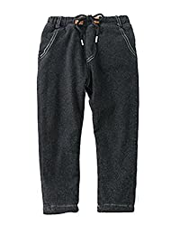 Autumn And Winter Boys Thick Jeans Black Multi-size