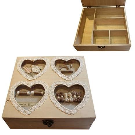 5 vano shabby chic scatola da cucito ago filo accessori organizer ...
