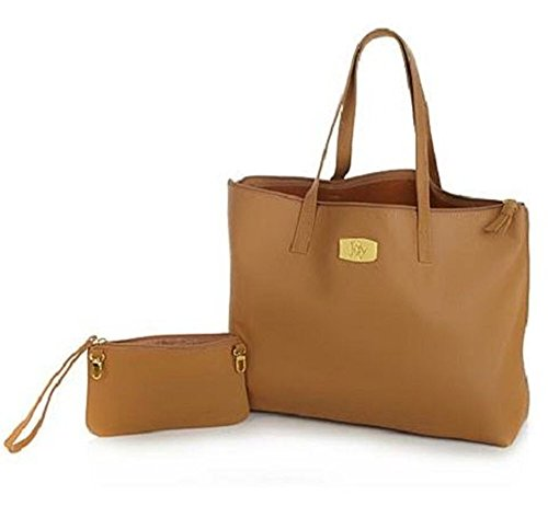 Camel Pebbled - JOY Genuine Leather Smart Bag with RFID-Protected Clutch Warm Camel Tan