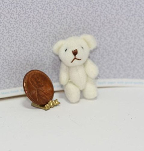 Dollhouse Miniature White Jointed Teddy Bear from Dollhouse Miniature