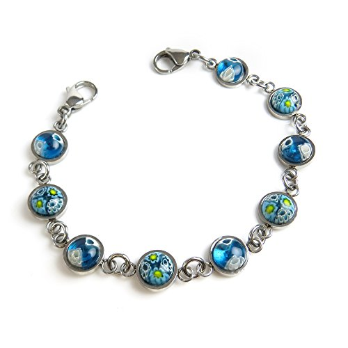 Myiddr   Interchangeable Medical Bracelet Strand  Round Blue Millefiori Glass  6 Inches