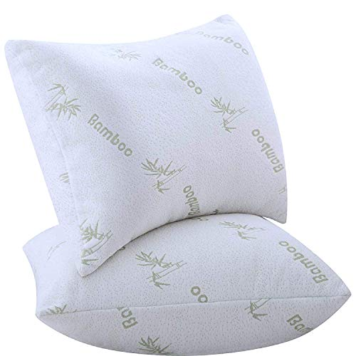 Pillows for Sleeping 2 Pack Bamboo Polyester Filled Ultra Soft Bounce Back Standard Queen Size 18 x 26 inches Pair Set of 2 Cool Washable Medium Support(2 Pack Bamboo Pillows Standard Queen)