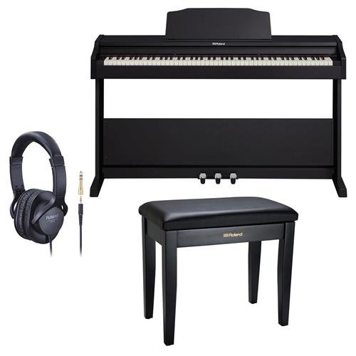 Roland RP-102 88 Key Digital Piano, Black – Bundle With Roland Piano Bench with Cushioned Seat and Storage Compartment Satin Black, Roland RH-5 Around-Ear Stereo Headphone with Conversion Plug