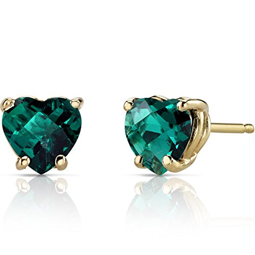 (14K Yellow Gold Heart Shape 1.50 Carats Created Emerald Stud Earrings)