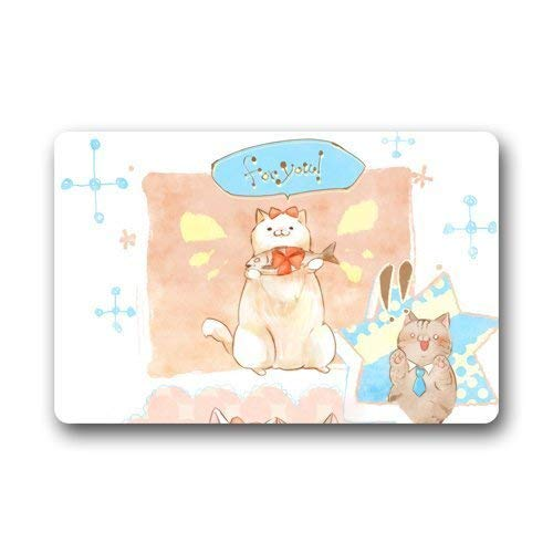 Cute Lovely Sweet Cartoon Art Deco Painting Cat Kitty Mew Pussy Mog Hand Draw Unique Non-Slip mats Doormat 23.6