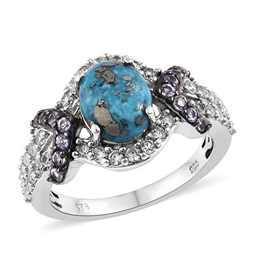 (Promise Ring 925 Sterling Silver Platinum Plated Turquoise Zircon Jewelry for Women Gift Size 7)