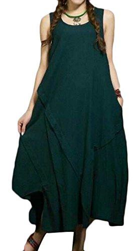 Crewneck Ajustement Lâche Des Femmes Cromoncent Manches Lin Décontracté Grande Robe Ourlet Vert Noirâtre