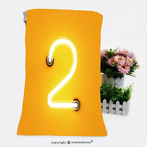 Primitive Font (VROSELV Cotton Microfiber Bathroom Bath Towel-neon light digit alphabet character two font neon tube letter glow effect on orange background Custom pattern of household products(9.8