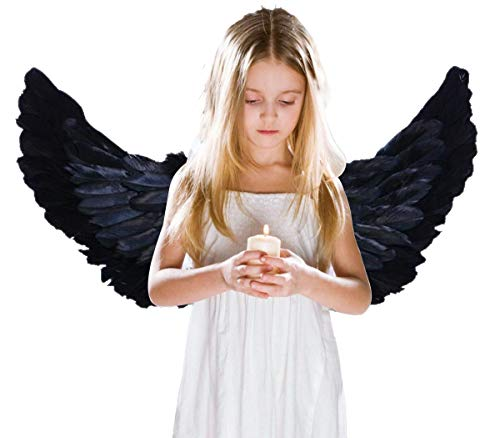 Dark Angel Costumes For Boys - AOOTOOSPORT Children's Black Feathers Angel Wings