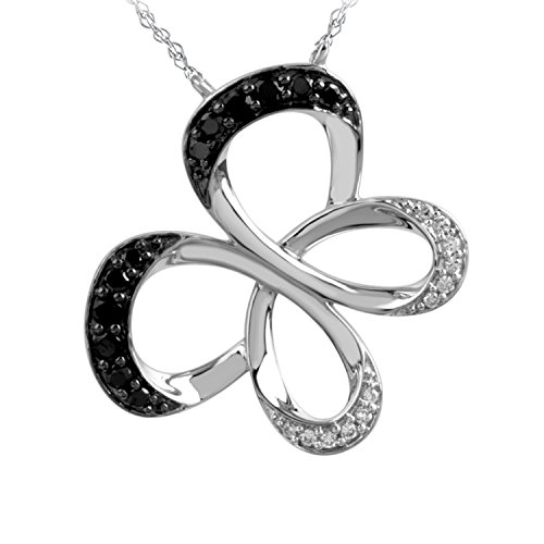 Jessica Simpson Butterfly Necklace (10K White Gold 1/4cttw Jessica Simpson Black & White Diamond Butterfly Pendant)