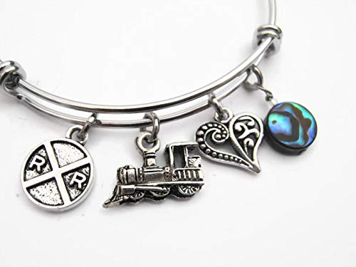 Railfan Bracelet with Abalone Shell, Expandable Stainless Steel Bangle Bracelet, Train Lover Jewelry Gift
