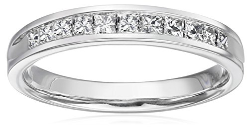 10k White Gold Princess Cut Channel-Set Wedding Band (1/2 cttw, I-J Color, I2-I3 Clarity), Size 7