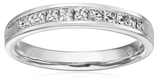 10k White Gold Princess Cut Channel-Set Wedding Band (1/2 cttw, I-J Color, I2-I3 Clarity), Size 7 -