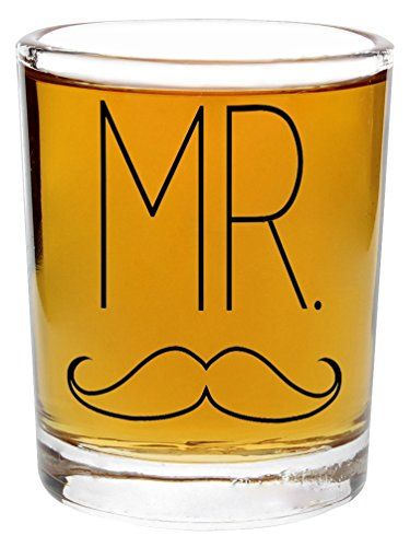 Wedding Gift Shot Glasses Mr Mustache and Mrs Lips Funny Wedding Gift for Newlyweds Couples Gift Shot Glasses 2-Pack Round Shot Glass Set Black