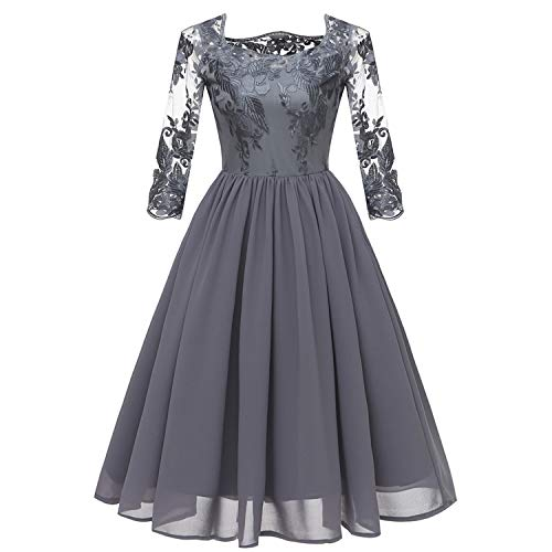 GABERLY Women's Luxury Embroidered Chiffon Lace Boat Neck Vintage Fashion Bridesmaid Evening Party Dress (Gray-1, Small (US 2-4)) ()