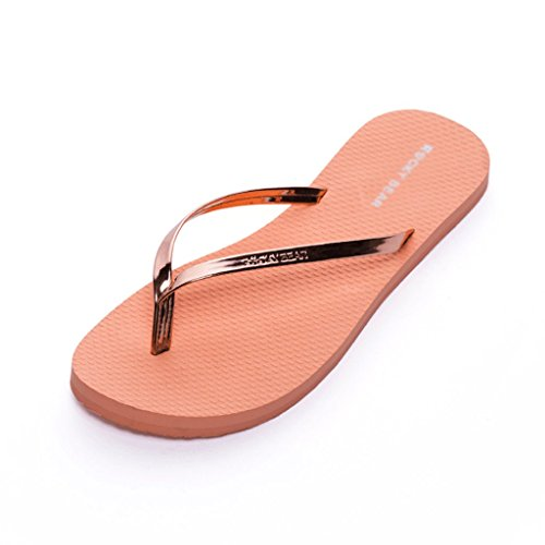 Metal Shiny Beach Female Summer Waterproof Sandals And Slippers Fashion (Color : RED, Size : 38) Orange