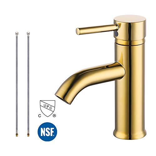 KES cUPC NSF Certified BRASS Modern Bathroom Sink Faucet Single Handle Wash Basin Faucet Lavatory Tap Lead-Free Brass, Titanium Gold, L3100ALF-PG