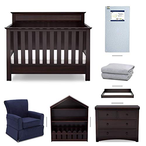 Crib Furniture - 7 Piece Nursery Set with Crib Mattress, Convertible Crib, Dresser, Bookcase, Glider Chair, Changing Top, Crib Sheets, Serta Fall River - Brown/Navy