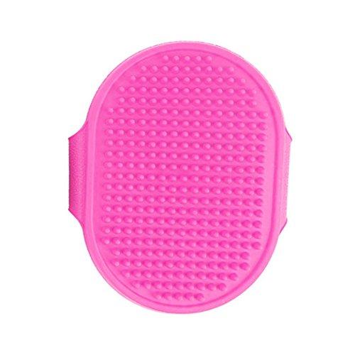 Pet Rubber Palm-Held Brush Grooming Massage Brush Hair Removal Bath Comb Pet Deshedding Brush Glove (Pink)