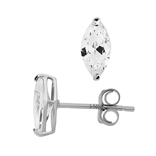 14K White Gold Basket Set Marquise-Shaped CZ Cubic-Zirconia Solitaire Stud Earrings 3, 4, 5 MM (6X3 Millimeters)