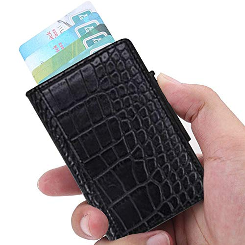 - RFID Blocking Slim Money Clip Aluminum Wallet Automatic Pop-up Card Case-Crocodile pattern Black
