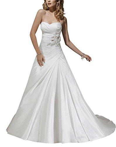 Hochzeitskleider Schatz Leichte Zug Taft Brautkleider Weiß Kapelle BRIDE Einfache GEORGE AwqET85