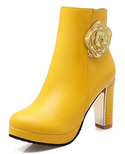 Women's Round Toe Platform High Heels Fashion Ankle Boots Yellow - 3