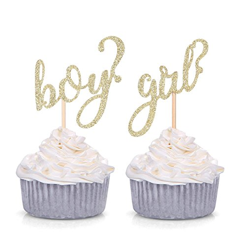 24 CT Gold Glitter Boy or Girl Cupcake Toppers Gender Reveal Party Decors]()