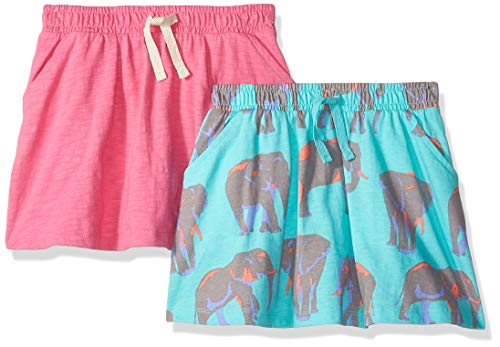 (Spotted Zebra Little Girls' 2-Pack Twirl Scooter Skirts, Elephants/Pink, Small (6-7))