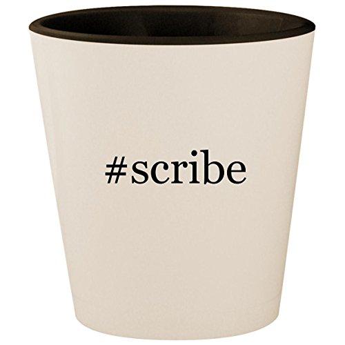 #scribe - Hashtag White Outer & Black Inner Ceramic 1.5oz Shot Glass (Metal Stylus Tungsten)