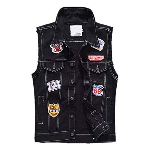 Jeans Slim Marca Patches Plus Denim Nero Giacche Maniche Black Senza Uomo Coat Risvolto Fit Vest Monopetto Di Mode Size Mens Ognwxn