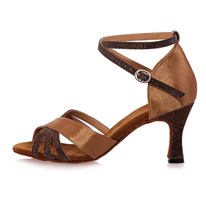 Elegant High Shoes Pattini Da Ballo Delle Donne Latino tacco Alto Con Marrone Personalizzabile multicolore