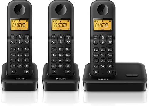 Philips D1503B/23 - Teléfono fijo digital, tres terminales, negro: Amazon.es: Electrónica