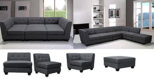Sectional Contemporary Grey Linen Fabric Chic Comfort Black Legs Welted Tufted Back Modular Sectional Sofa 6pc Set