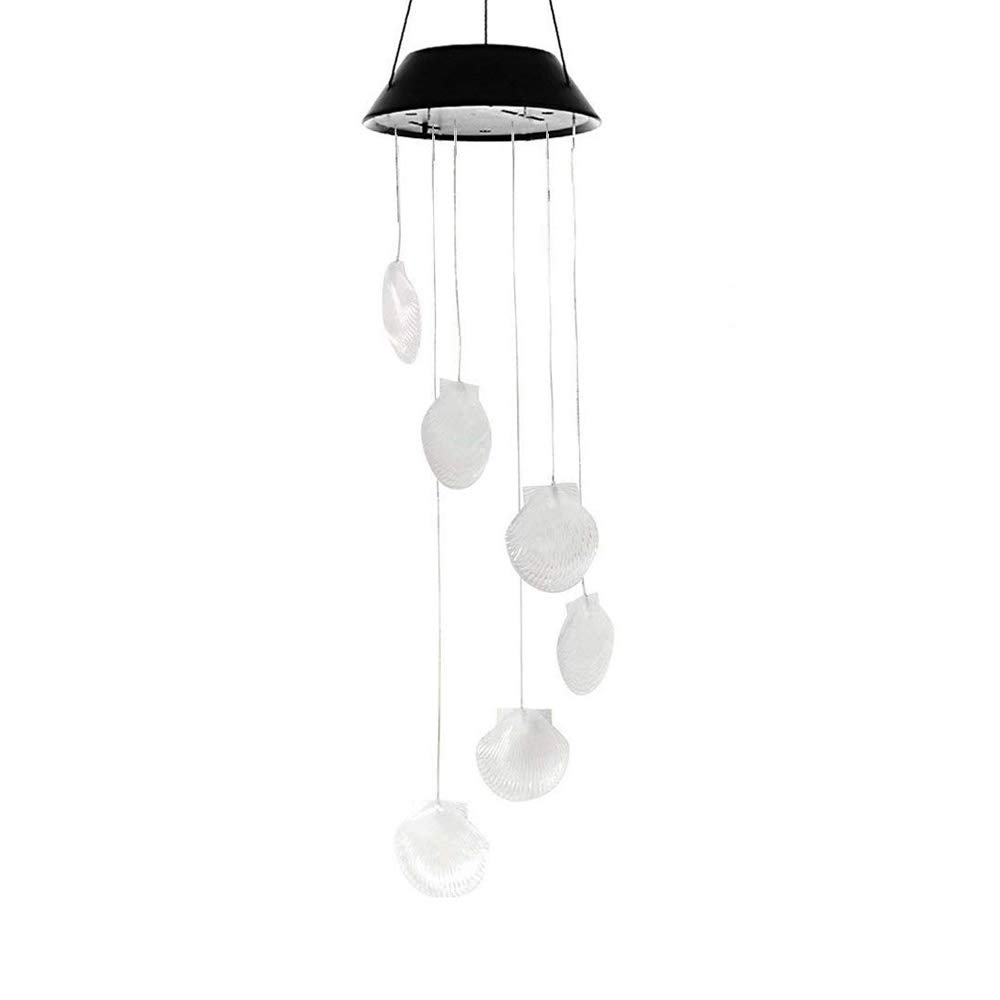 LED Solar Seashell Wind Chime, Changing Color Waterproof Solar Seashell Wind Chimes Hanging Lantern Light for Home Party Bedroom Night Garden Decoration