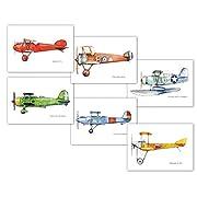 Vintage airplanes Set SIX prints Nursery transportation decor