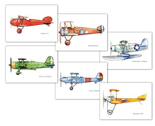 Vintage Airplanes Set 6 Prints Nursery Transportation Decor
