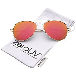 zeroUV - Small Full Metal Color Mirror Teardrop Flat Lens Aviator Sunglasses 56mm (Gold/Orange Mirror)