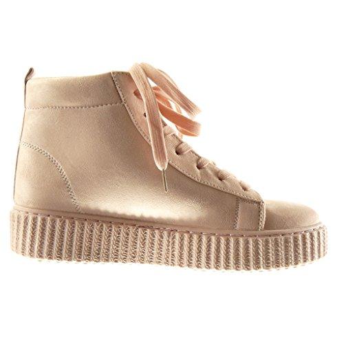 Angkorly Women's Fashion Shoes Trainers - Platform - High Wedge Platform 4 cm Pink HkrHxg