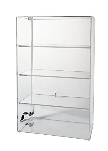 - Display Case with Locking Back Door | Acrylic Case (SD213 (w/3 Shelves) - 21-3/4H x 13-1/4W x 7-1/2D)