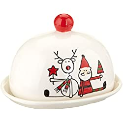 """Pavilion Gift Company Holiday Hoopla Santa and Reindeer Ceramic Christmas Butter Dish, 4"""", Red"""