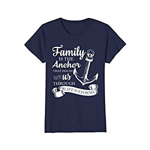 Womens Family is the Anchor That Holds us Through Life's Storms Tee Large Navy