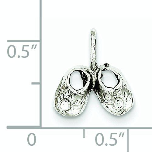 Or blanc 14 carats Pendentif Chaussons Bébé-Dimensions :  13 x 11 mm-JewelryWeb