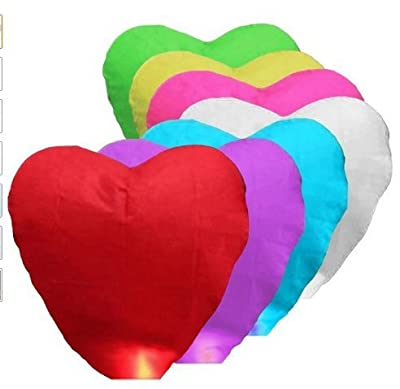 FRE 7 Pcs Beauty Chinese Paper Sky Flying Wishing Outdoors Lantern Heart Shape for Birthdaywedding - Muti Color