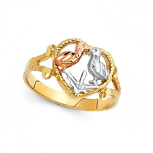 - Love Birds Heart Ring 14k Yellow White Rose Gold Diamond Cut Polished Fancy Tri Color 12MM Size 6.5