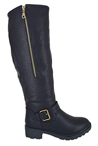7d243045692 LADIES WOMENS FUR LINED LOW FLAT HEEL KNEE HIGH BIKING RIDING BOOTS SHOES  SZ 3-8  Amazon.co.uk  Shoes   Bags