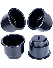 (Set of 4) Amarine-made Black Recessed Drop in Plastic Cup Drink Can Holder with Drain for Boat Car Marine Rv - Black