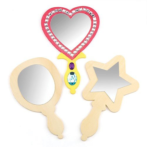 - Baker Ross Wooden Mirror to Decorate and Personalise - Assorted Designs (Pack of 3)